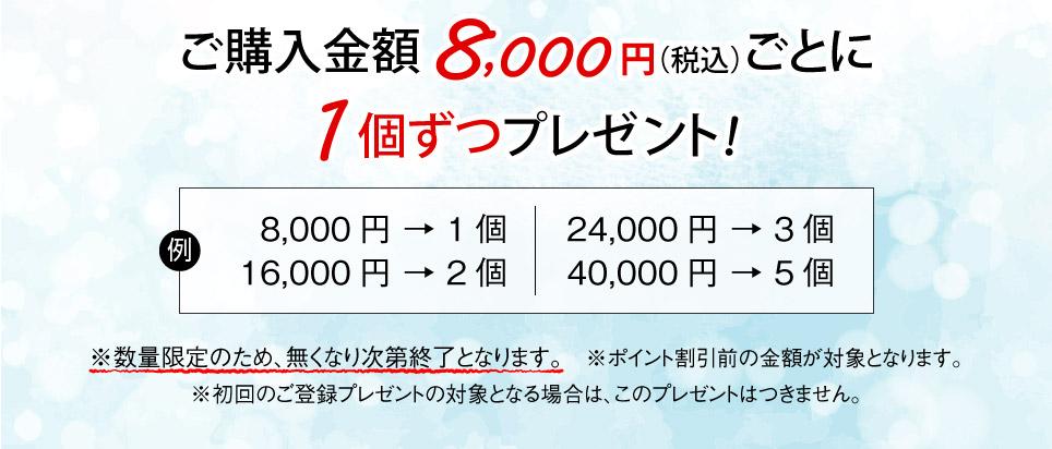 8000円お買い上げごとに、1個ずつプレゼント