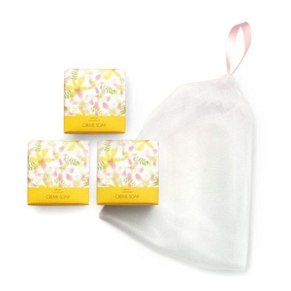 ゼノア クリームソープ3個 (おまけ:リボン付き泡立てネット)(ゼノア化粧料/ゼノア化粧品)